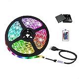 Tira de luces LED USB con caja de pilas y mando a distancia, 5050 RGB, 5 V, seguras y táctiles, para interior y exterior (4 m)