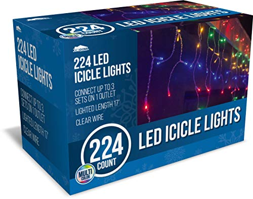 Joiedomi 224 LED Christmas Icicle Lights for Indoor & Outdoor Decorations, Christmas Events, Christmas Eve Night Decor, Christmas Tree, Eaves (Multi-Color)