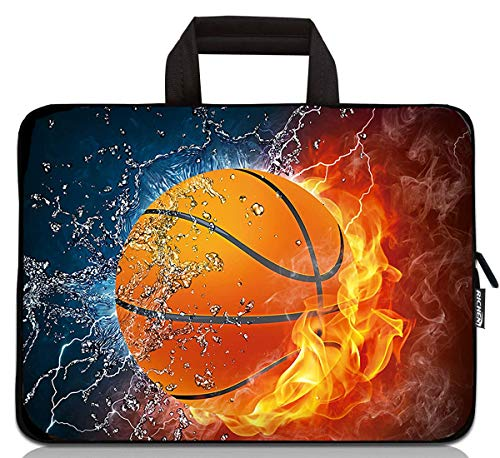 15 inch Neoprene Laptop Carrying Bag Chromebook Case Tablet Travel Cover with Handle Zipper Carrying Sleeve Case Bag Fits 14 15 15.4 inch Netbook/Laptop (14-15.4 inch, Basketball Fire)