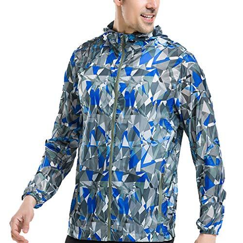 CIKRILAN Homme Lightweight Sun Protection Anti-UV Vestes Outdoor Beach Hoodie (XXL, Blue Printing)