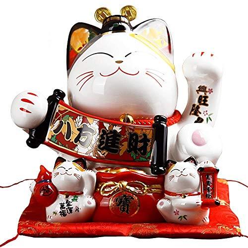 VBNHGF Escultura Decoración Estatuas Figuritas Decoración Japonés Lucky Cat Piggy Bank Estatuillas De Animales Maneki Neko Kitten Gato De Cerámica Caja De Dinero Decoración De Es