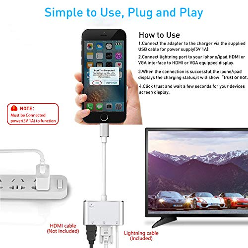Adaptador HDMI VGA AV convertidor, 2019 última versión 4 en 1 Plug ...