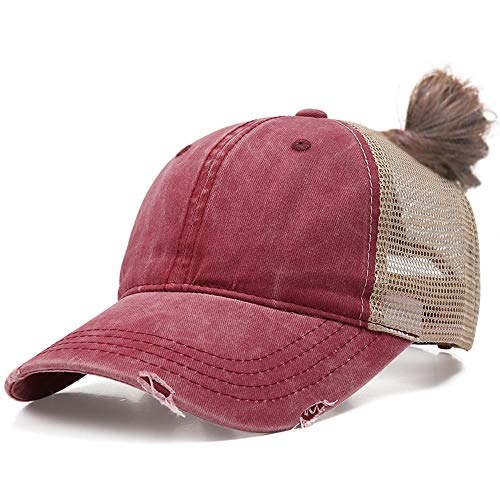 DOANNOTIUM Ponytail Baseball Cap Retro Washed Cotton Visor Dad Hat Adjustable Trucker Ponycaps (Wine red)