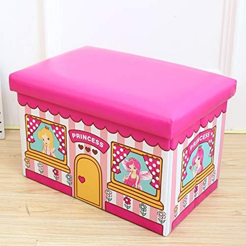 HYYQG Silla de almacenamiento de juguetes, taburete de almacenamiento, ropa para niños, asiento otomano redondo, cubierta de baño, mesa de animales, reposapiés de piel, color rosa