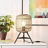 DekoNature - Lámpara de mesa (1 bombilla E27, máx. 40 W, metal/ratán), color marrón claro y...