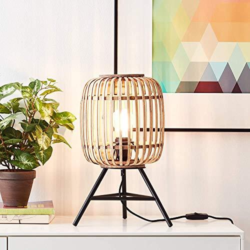 DekoNature - Lámpara de mesa (1 bombilla E27, máx. 40 W, metal/ratán), color marrón claro y negro