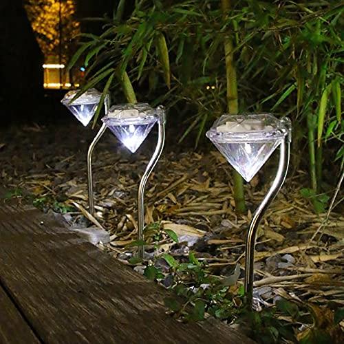 Energía Solar Lámpara De Césped De Diamante LED Al Aire Libre Luz del Poste De La Noche Jardín Villa Decoración De La Calle Paisaje Decorativo Impermeable 4 Paquetes,White Light