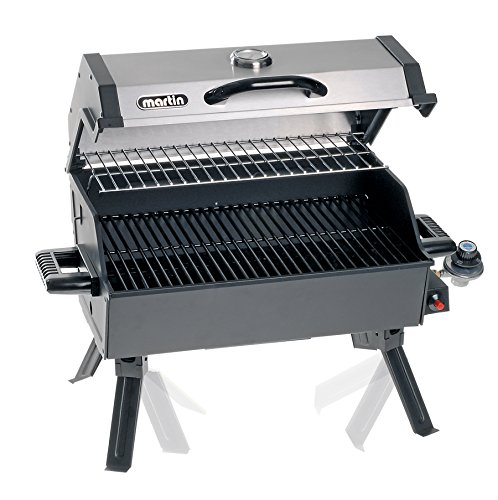 Martin Portable Propane BBQ Gas Grill 14,000 Btu Porcelain Grid with Support Legs and Grease Pan Grills Propane