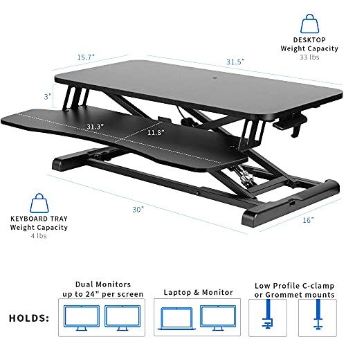 VIVO Height Adjustable 32 Inch Standing Desk Converter