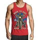 Camisetas de Tirantes para Hombre Live Young - Die Free - Nacido para Montar en Moto, Ideas de Regalos para Ciclistas, Lemas inspiradores (Medium Rojo Multicolor)