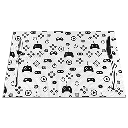 Tcerlcir Placemats Set of 6 Gamer Controler Icons Heat Resistant Washable Non-slip Place Mats Table Mats for Kitchen Dining Table 18'X12'