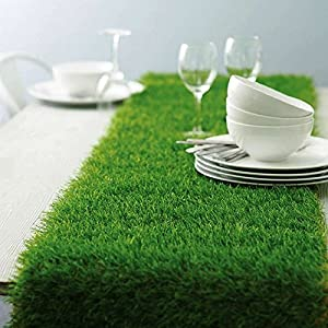 Tableclothsfactory Artificial Grass Table Runner for Table Decoration