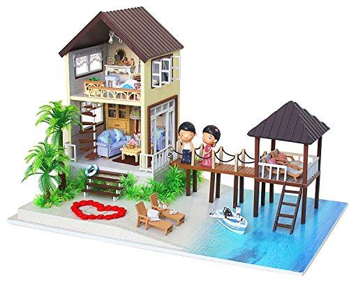 Kit Per Casa Delle Bambole Fai Da Te In Miniatura, In Legno, Fatta A Mano, Modello Villa Alle Maldive, Completa Di Mobili E Carillon