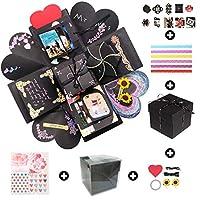 """1,Specifiche: esplosione box(12 × 12 × 12 cm / 4,7 × 4,7 × 4,7"""", nero) scatola esterna in PVC (13 × 13 × 13 cm / 5.1 × 5.1 × 5.1"""" , trasparente) 2,Caratteristiche: L'esterno sembra una scatola nera.Ma quando lo apri,Sorprenderà tutti!Dopo averlo aper..."""