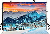 Zhy France Resorts Winter Backdrop 7X5FT Snow Mountains Houses Gorgeous Sunset Photography Background YouTube Photo Studio Prop Wallpaper LHST577