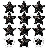 Nifocc Parche bordado de estrellas con lentejuelas y estrellas negras para planchar, para ropa, vaqueros, chaquetas, sombreros, bolsos, mochilas, zapatos, decoraciones 10 unidades