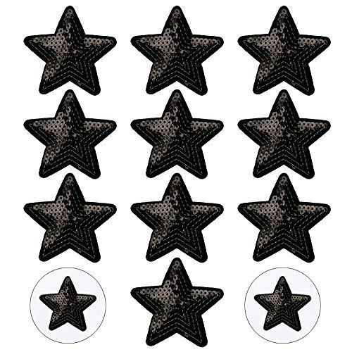 Nifocc - Toppa ricamata con stelle e paillettes, con paillettes e stelle nere, da applicare con ferro da stiro, per vestiti, jeans, giacche, cappelli, borse, zaini, scarpe, decorazioni, 10 pezzi