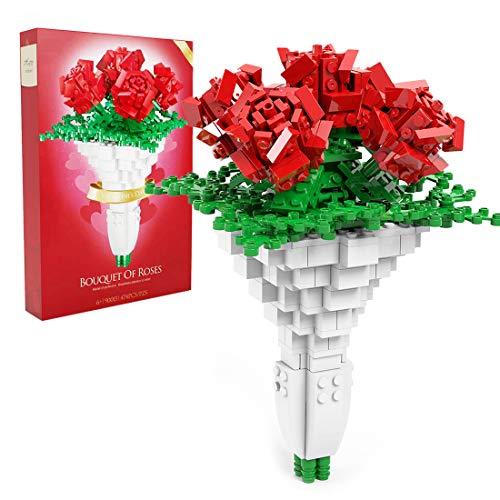 Tewerfitisme 474 piezas de construcción de flores de rosa, modelo de juguete, cumpleaños, Navidad, base en la imagen no incluida, compatible con Lego