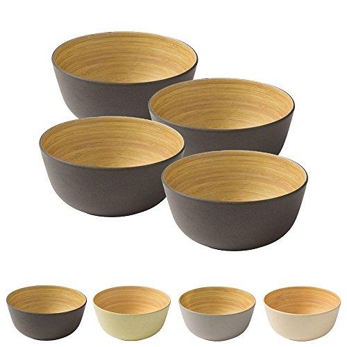BIOZOYG 4 Pièces Premium Bambou Bol Noir Anthracite Rond 450 ML I Bambou Vaisselle Bol de céréales Fruits saladier en Bois Deco Bol Service Bol Camping Vaisselle