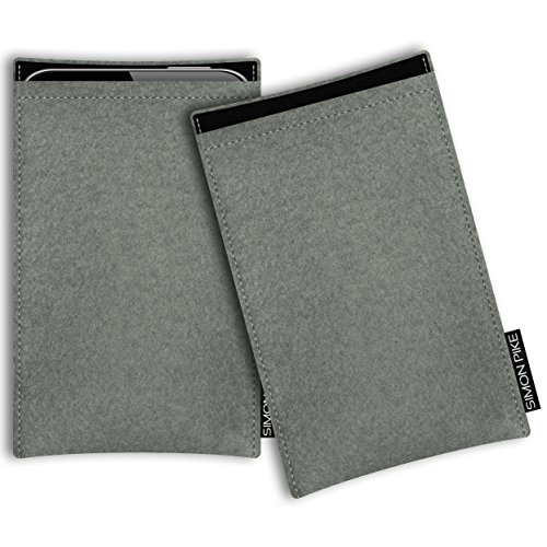 SIMON PIKE Hülle Tasche kompatibel mit Samsung Galaxy Note 20 Plus (R) | Filztasche Boston in 1 elefantengrau aus Filz (echtem Wollfilz) Handyhülle
