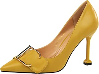 Sam Carle Women Pumps, Sexy Metal Belt Buckle High Heel Shallow Mouth Pointed Toe Shoes