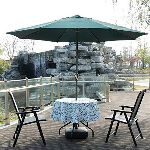 Qiqihome, tovaglia rotonda da 150 cm per interni ed esterni, con foro per ombrellone, per ospitare feste in cortile, barbecue, riunioni di famiglia (recinto foglia, 150 cm rotonda con cerniera)