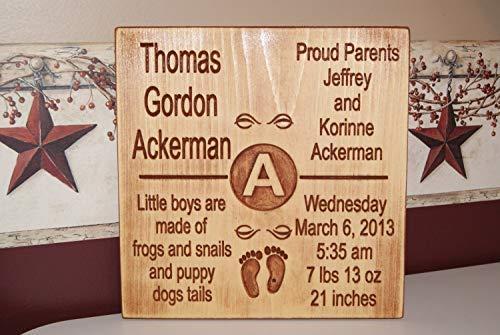 Brooer2ick Holzschild zum Aufhängen, personalisierbar, mit Geburtsdatum, Geburtsdatum, Eltern, Namen, Kinderzimmer, Reim, Babyfüße, handgefertigt