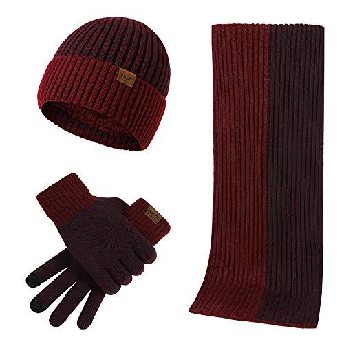 Conjunto de 3 peças de gorro de inverno, luvas de tela sensível ao toque, unissex, design de duas cores, Vinho tinto, M