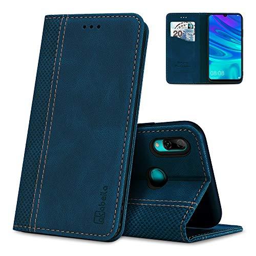 AKABEILA Huawei P Smart 2019 Hülle Leder, Huawei P Smart 2019 Handyhülle Silikon, Kompatibel für Huawei P Smart 2019 Schutzhülle Brieftasche Klapphülle PU Magnetverschluss Kartenfächer Hüllen, Blau