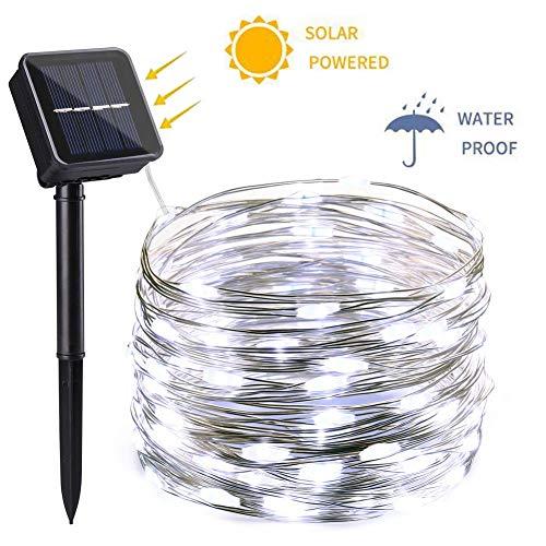 NEXVIN Luci Esterno Solare, Catena Luminosa di Filo di Rame 12M 100 LED, Luci Stringa Solare Impermeabile IP65 per Decorazione Giardino Esterni (Bianco Freddo)