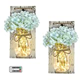 EuroBird Rustic Mason Jar Sconces Handmade with 6 Hours Timer, Farmhouse Wall Decorative Mason Jar with LED Fairy Lights and Silk Flowers Bouquet for Living Room, Bedroom, Bathroom, Bars (Set of 2)