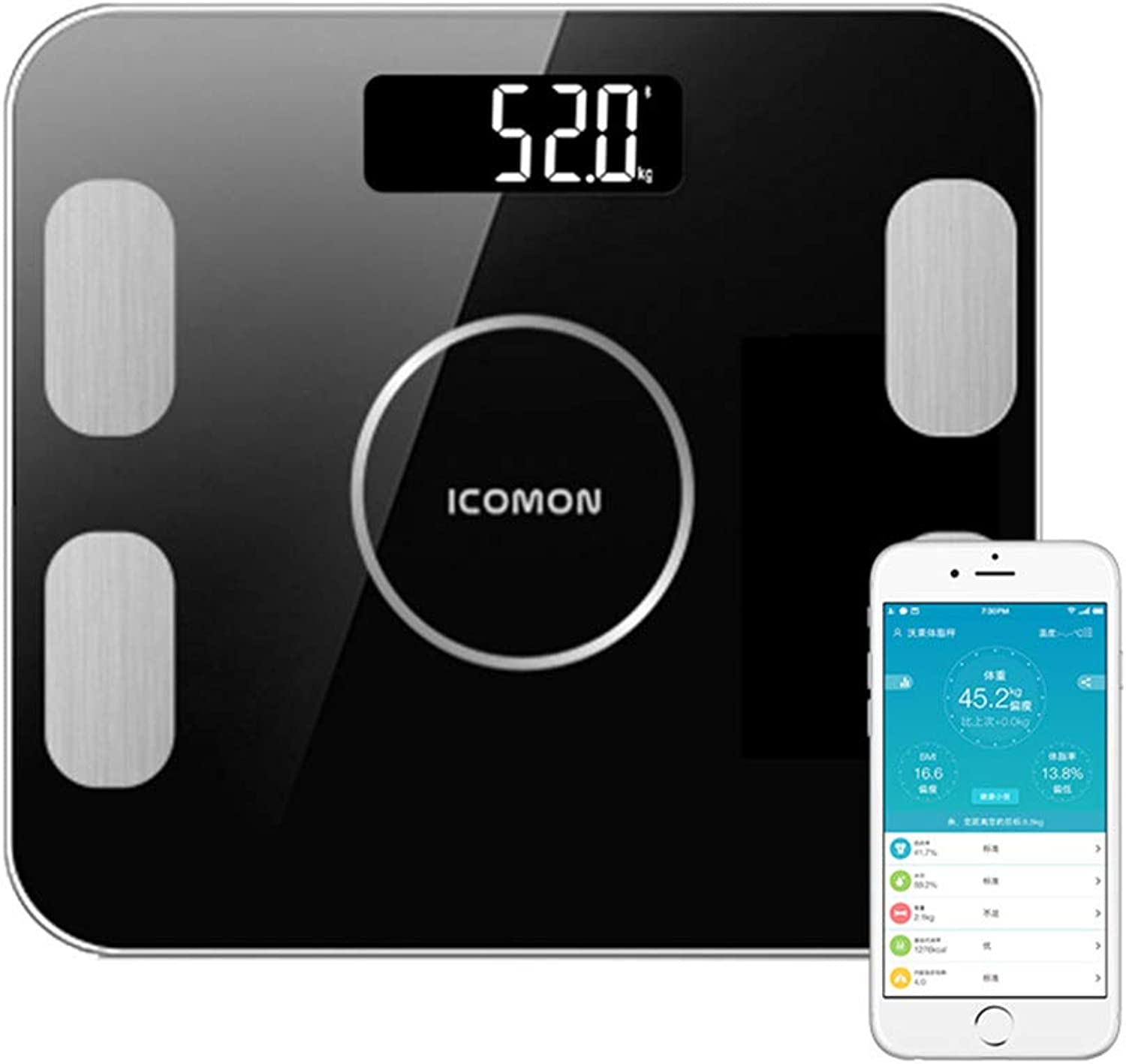 Smart blueetooth Body Fat Scale, Electronic Scale Health Scale Body Fat Meter,Large LCD Display, Tempered Glass,Black