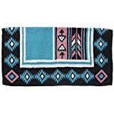 Tough-1 Cherokee Wool Saddle Blanket Turq/Black