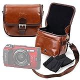 DURAGADGET Bolsa Profesional marrón tamaño Mediano.con Compartimentos para Olympus TG-5 / Stoga CGT002 / PowerLead Gapo G055 / Olympus Stylus SH-1