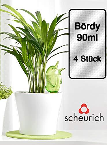 Scheurich Wasserspender Bördy S | 4 x Grün | 90ml Füllmenge | Bewässerungskugeln klein mit Ton Fuß | Wasserspender für Zimmerpflanzen und Blumen Terrakotta Stiel