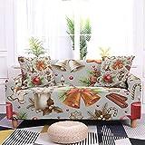 WXQY Funda de sofá de Navidad Funda de sofá de Spandex elástica Funda de sofá con Estampado de Navidad Funda de sofá Antideslizante Todo Incluido A8 3 plazas