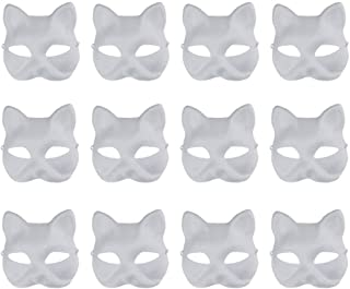 Vankcp White Mask,12 Pcs Halloween Mask White DIY Mask,Plain Mask White Mask Paper Full Face Opera Masquerade Mask