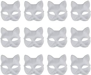 Vankcp White Mask,12 Pcs Halloween Mask White DIY Mask,Plain Mask White Mask Paper Full Face Opera Masquerade Mask