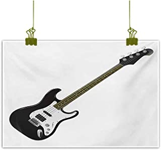 Homrkey Abstract Painting Bass Four String Rhythm Music Rock and Roll Element Detailed Illustration Black White Caramel Canvas Wall Art 35