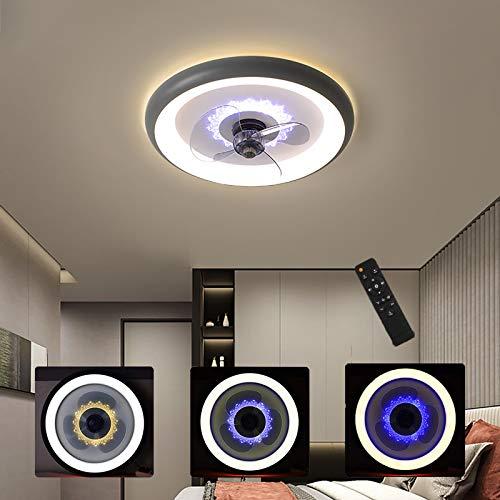 WOERD Ventilador de Techo con Iluminación Moderno Dormitorio Regulable Luz De Techo LED con Ventilador Invisible Restaurante Araña De Ventilador Sala Comedor Oficina Fan Iluminación