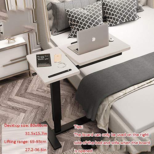 Stahlrohr Schreibtisch Verstellbar mit Weißes Massivholzbrett,Höhenverstellbar, Rollen, USB, Drehbar,Schreibtisch Computertisch für Schreibtisch, Tablett Tisch Verstellbares Sofa Beistelltisch Tragba
