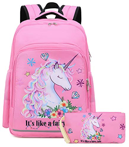 Girls Backpack Elementary Kids Fairy Bookbag Girly School bag Children Pencil Bag (Pink - Fairy tale unicorn 2pcs)
