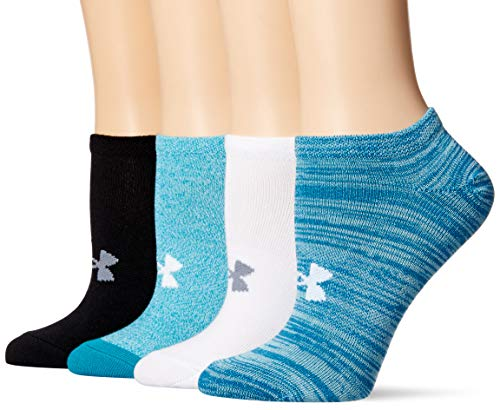 Under Armour Women's Essential No Show Socks, 4-Pairs, Bayou Blue Assorted, Shoe Size: Womens 6-9