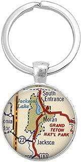 Grand Teton National Park ,Wyoming Jackson Wyoming Map Keychains, Vintage Map Key-Ring Keychains
