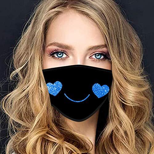 QIUMINGSS Schwarz Einfarbig Mundschutz Nasenschutz Cartoon-Muster-Figur E