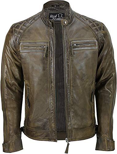 Giacca trapuntata in vera pelle morbida | Giacca da moto antica in pelle da uomo | Giacca in pelle vintage con zip Marrone XL