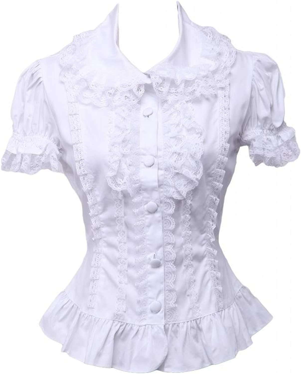 Hugme Sweet White Cotton Lolita Blouse Short Sleeves Layered Lace Trim TurnDown Collar