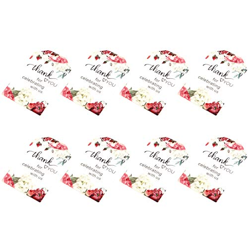 Amosfun 51Pcs Danke Tags Papier Geschenkanhänger Danke für Das Feiern mit Uns Muster mit Schnur für Hochzeit Brautdusche Babypartybevorzugungen