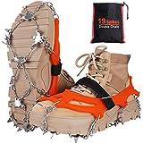 Seydrey Crampones, 19 Dientes Tacos de tracción Nieve y Hielo Tracción para Invierno Deportes Montañismo Escalada Caminar Alpinismo Cámping Acampada Senderismo (Naranja, XL)