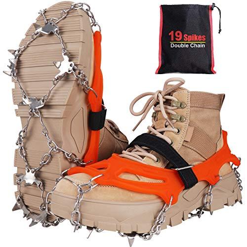 Seydrey Kramponger, is och snögrepp, iskilar dragkraft snögrepp för stövlar skor kvinnor, män, barn halkfria med 19 rostfria spikar för promenader, joggning, klättring och vandring Orange M